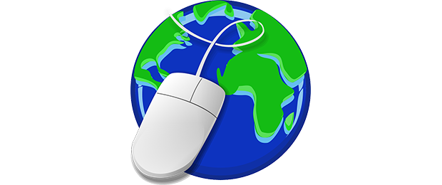 globe with a computer mouse